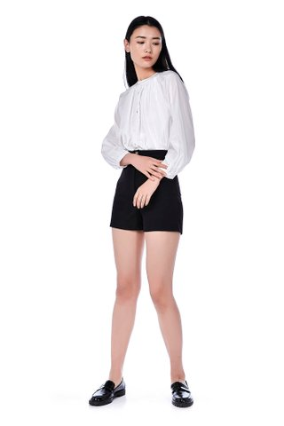 Belvia Mandarin-Collar Blouse