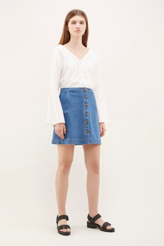 Tabora Button-Through Denim Skirt