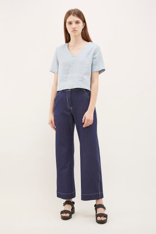 Qays Cross-Back Linen Top