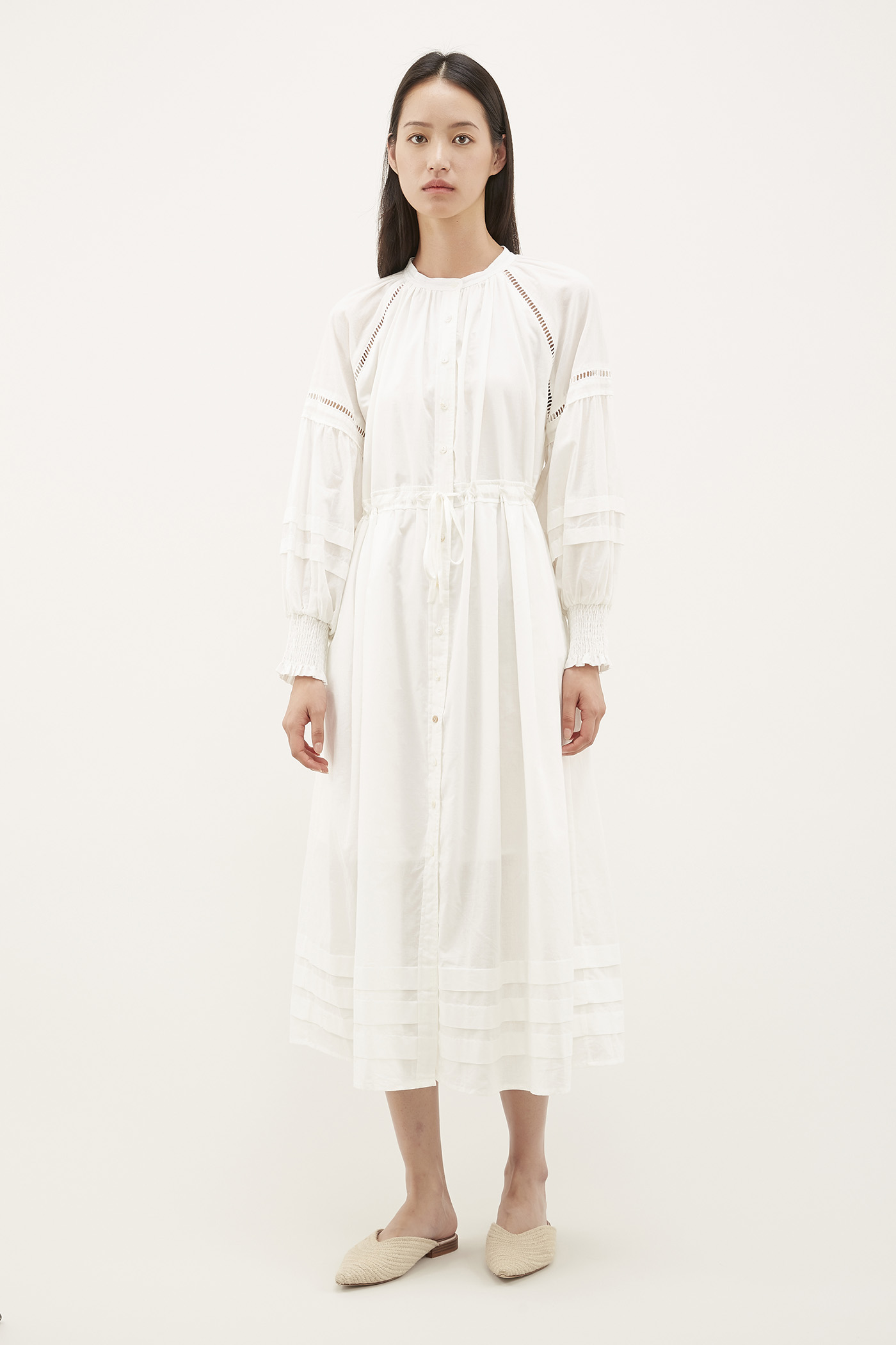 Poria Wide-pleat Shirtdress