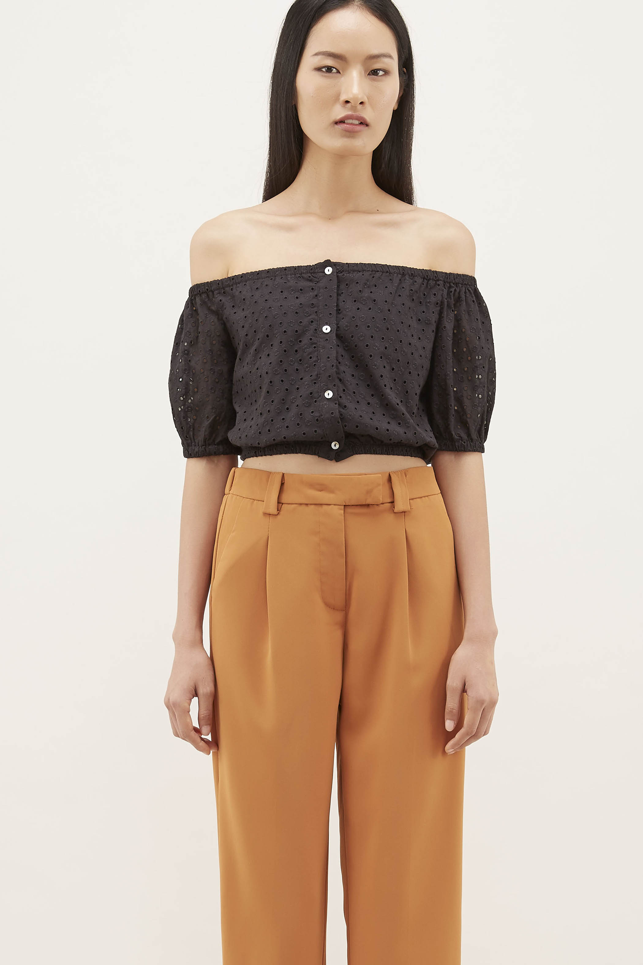 Shaivi Eyelet Crop Top