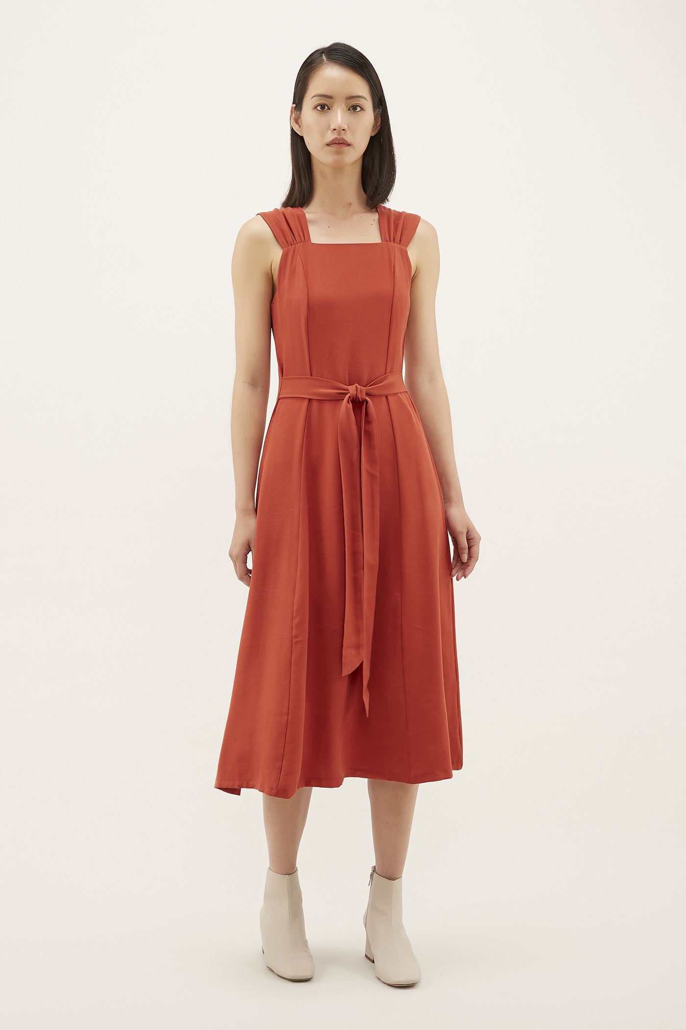 Kamila Ruched-strap Dress
