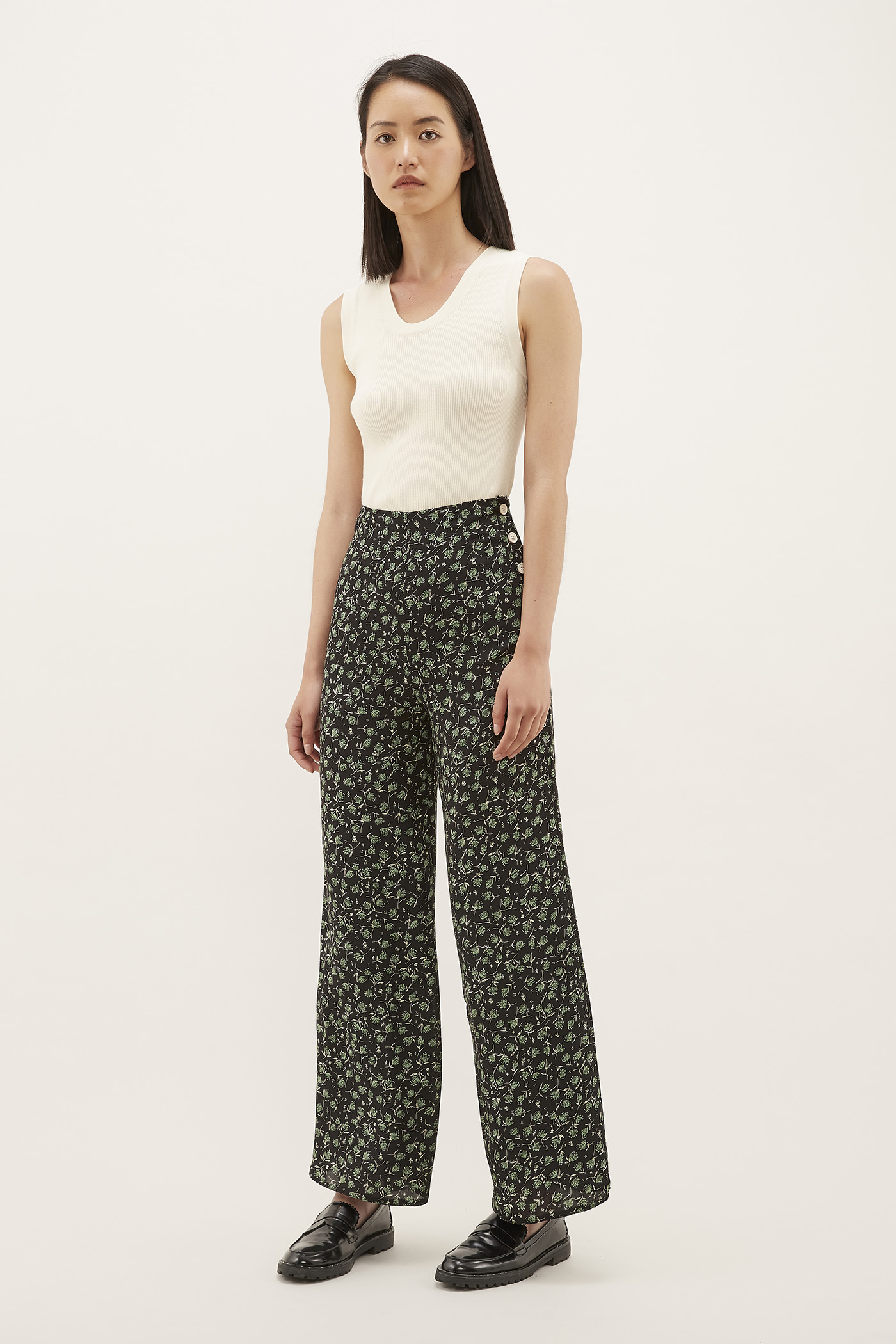 Olara Side-Button Pants