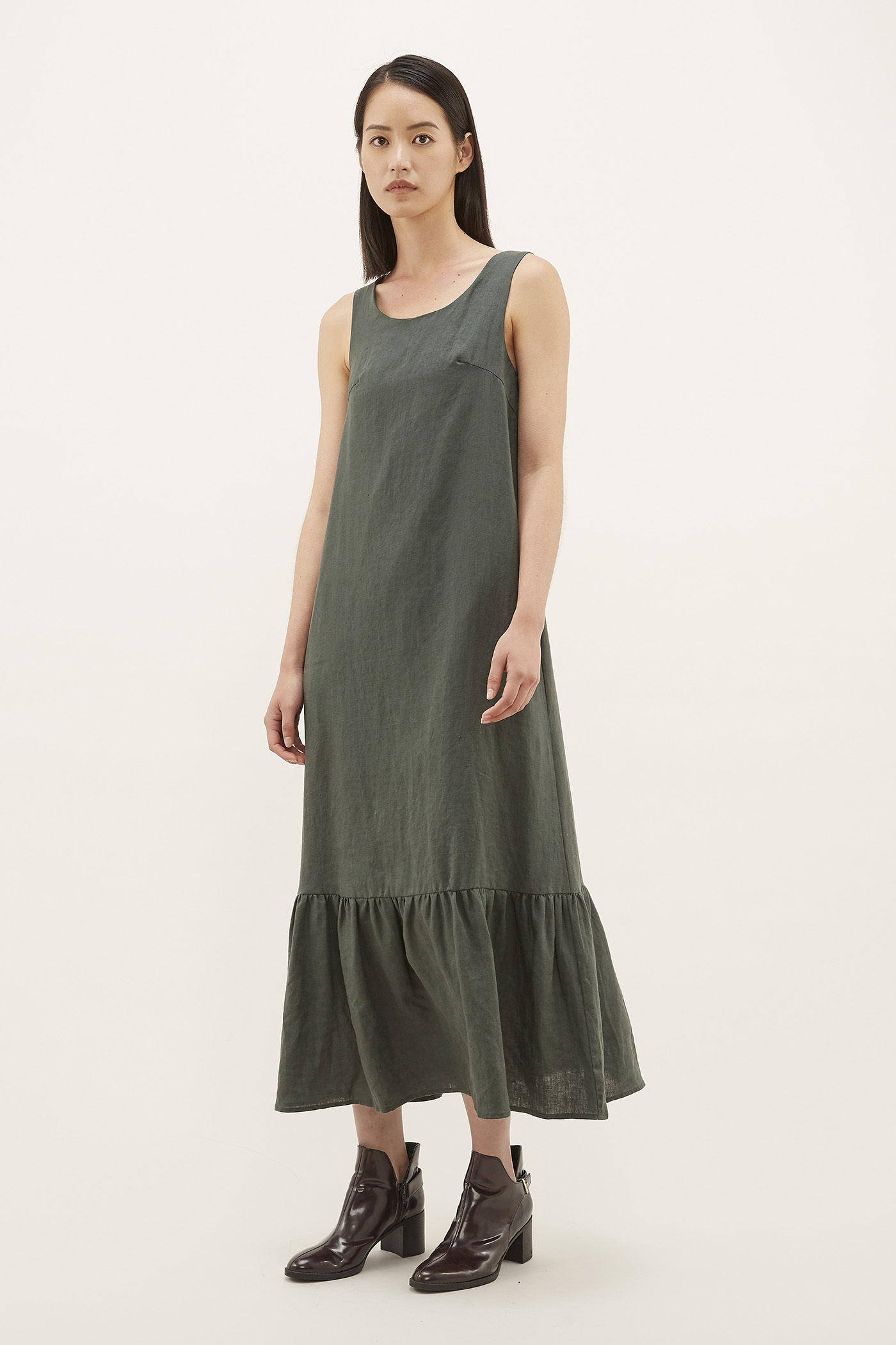 Claudine Gathered-hem Dress