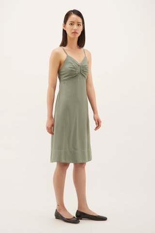 Krystin Pleat-front Slip Dress