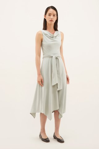 Yoan Cowl-neck Midi Dress