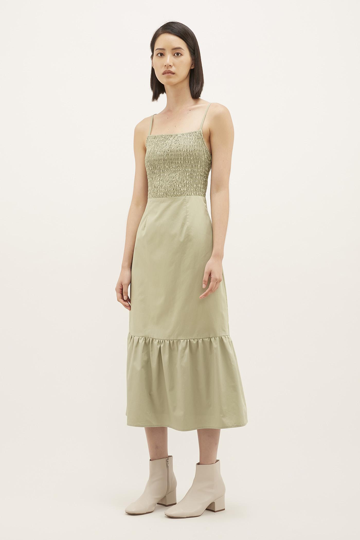 Ashleen Shirred Midi Dress