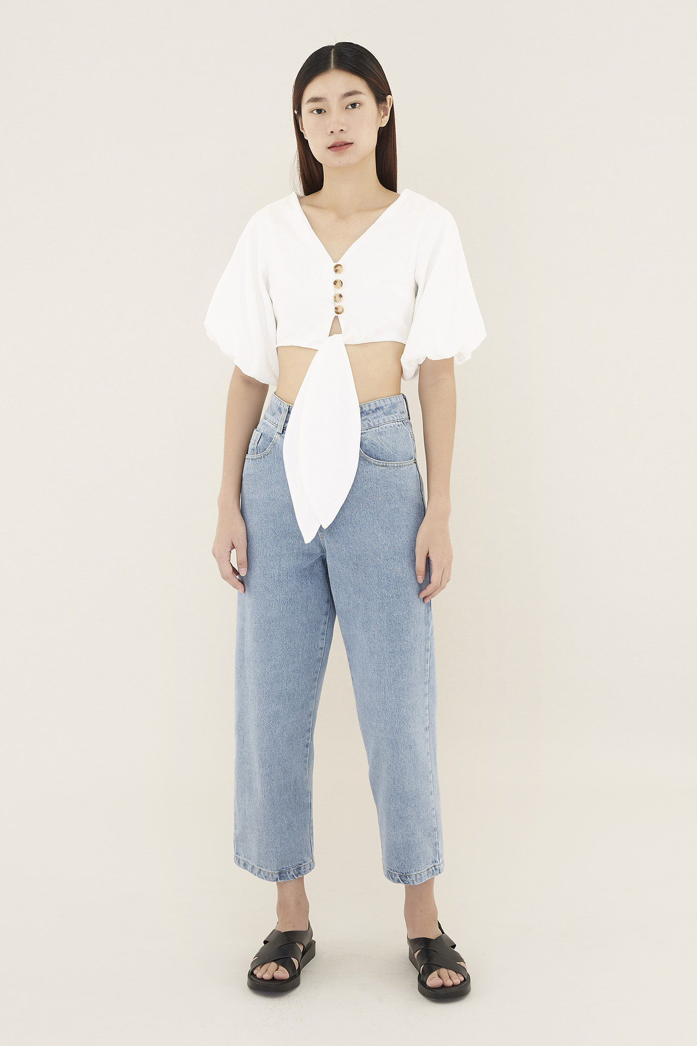 Giana Balloon-sleeve Crop Top