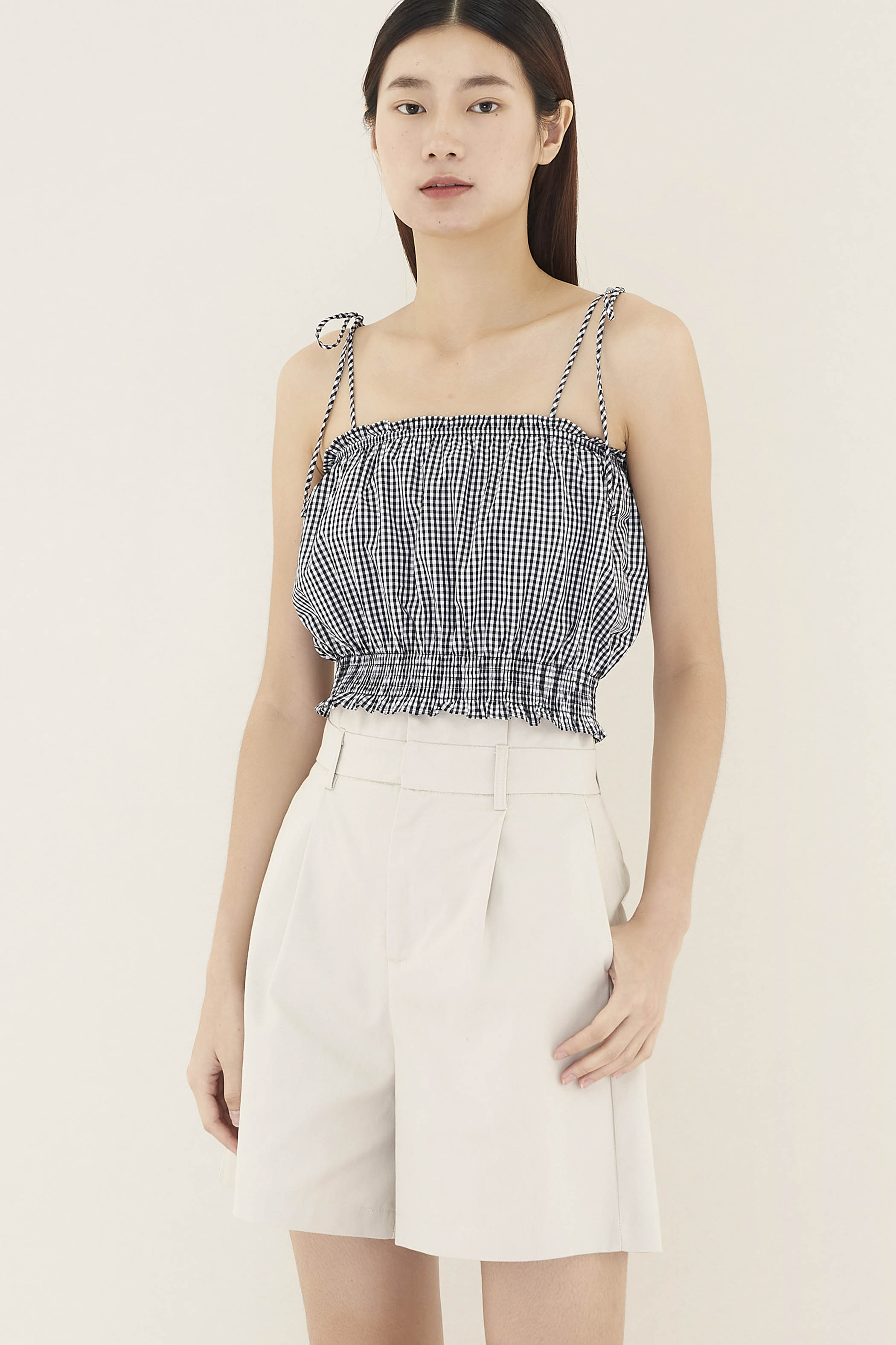 Jany Smock-Waist Crop Top