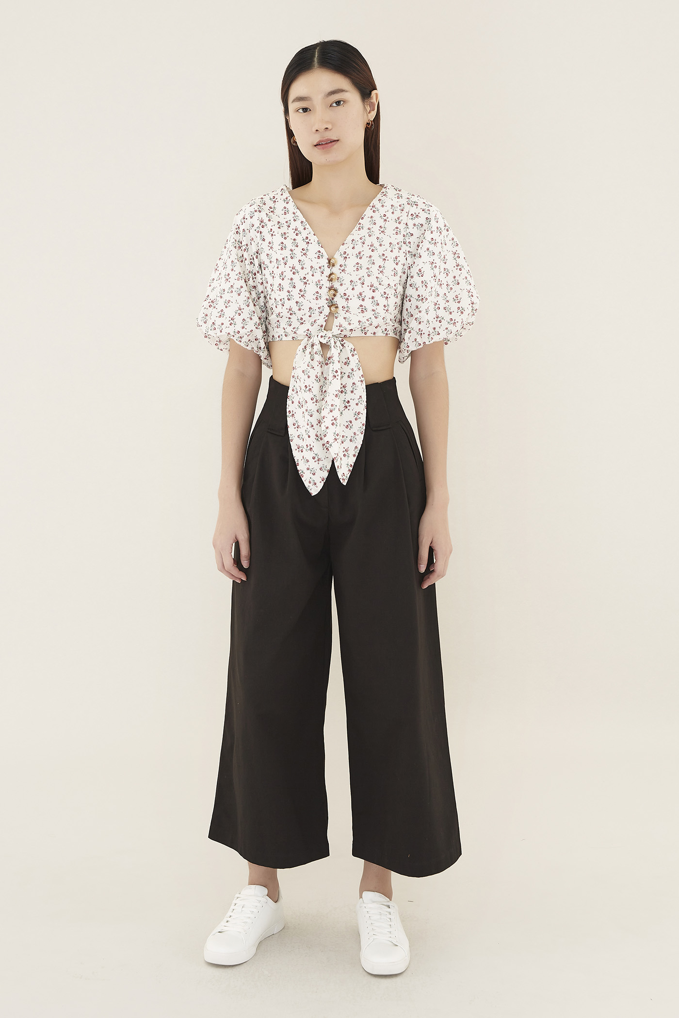 Daleena Balloon-sleeve Crop Top