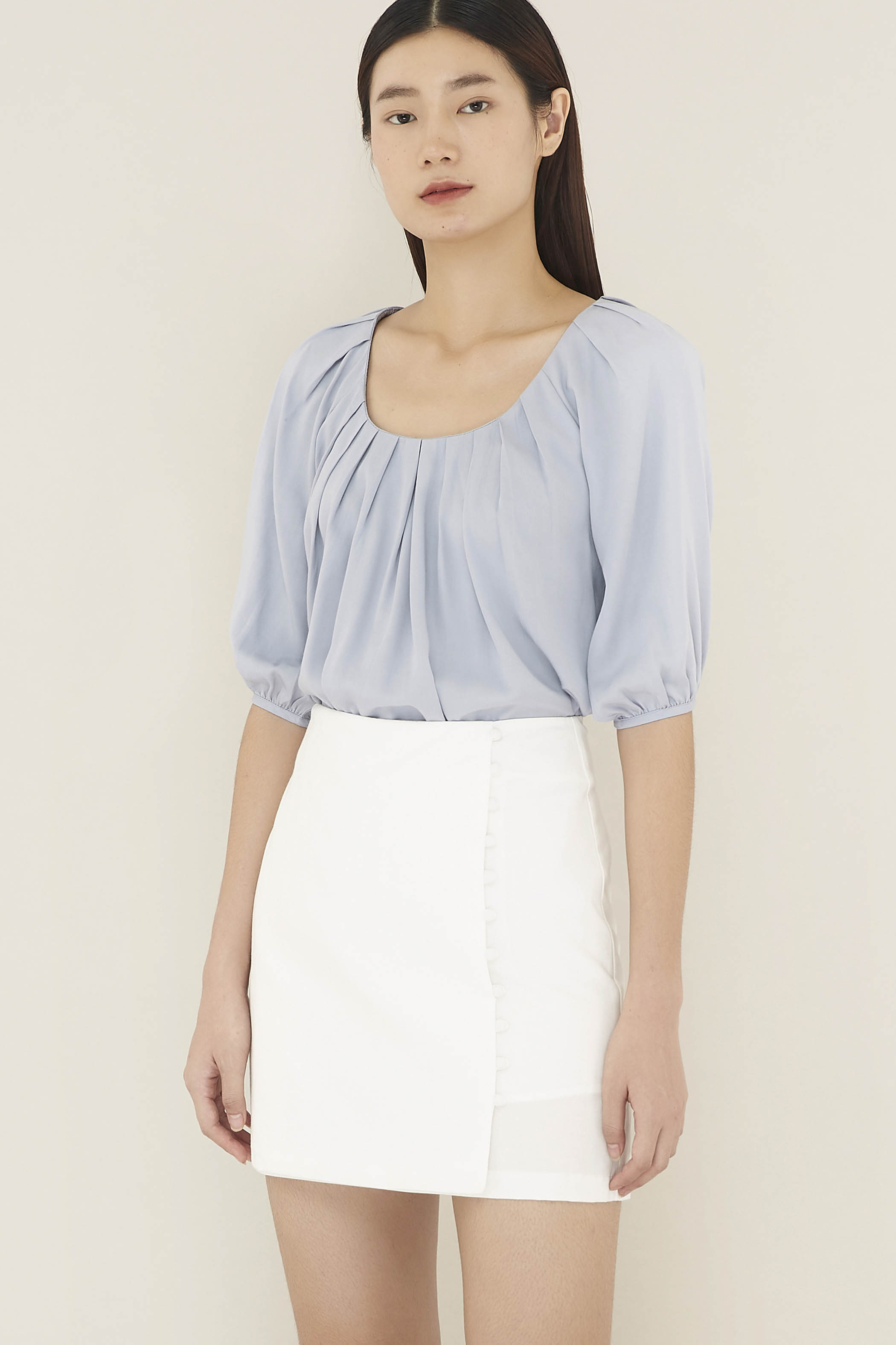 Slyvie Front-pleat Blouse
