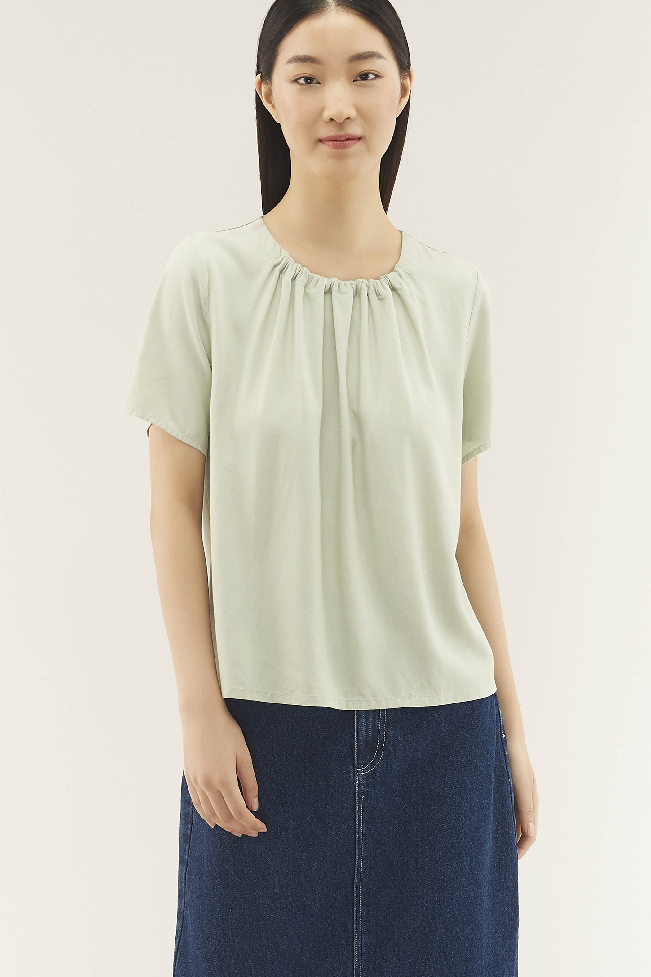 Nysha Gathered-neckline Blouse