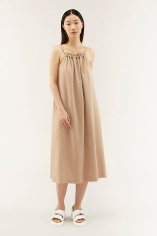 Adelia Gathered-neckline Dress